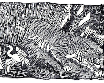 Linocut of a Tiger stalking in the Jungle