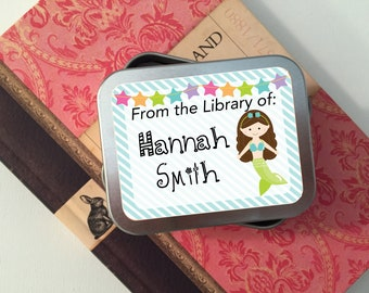 55 Mermaid Personalized Book Plate Stickers, Book Labels, Book Gift, Library Tags, From the Library Of, Baby Shower Bookplate, Book Shower