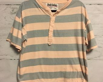 Shah Safari Men's Pink and Blue Striped T-Shirt Size Large
