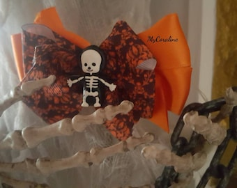 Halloween Skeleton Brooche and Hairbow