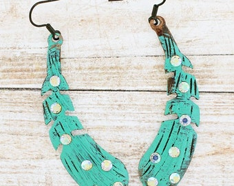 Western Cowgirl Feather Rhinestone Crystal Accents Turquoise Earrings