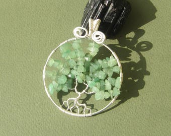 Green aventurine wire wrapped tree of life pendant with silver plated wire and green aventurine stones