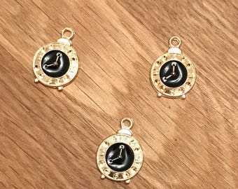 Gold Tone Gold Plated Clock Pendant Charms With Black Enamel 19mm x 13mm