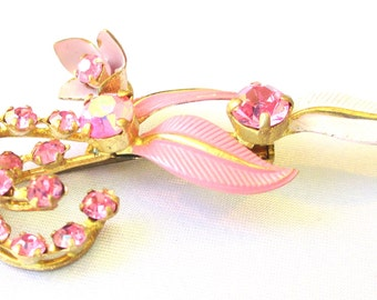 Victorian Signed Made In Austria Pink Rhinestones and Pink Enamel Flower