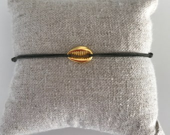 Bracelet link khaki & gold shell woman