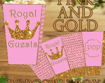 Printable Pink and Gold Party- Chevron Party- Pink and Gold Birthday, Pink and Gold Party Decorations, Pink and Gold Party Goody Dress