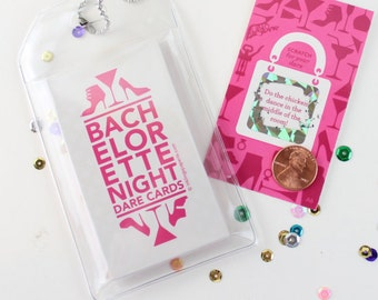 Scratch-off Bachelorette Dare Game // Bridal Shower Game, Bachelorette Party Games, Bachelorette Scratch-offs // 12 Cards in a Luggage Tag