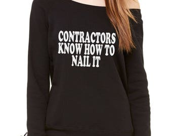 Contractors Know How To Nail It Slouchy Off Shoulder Oversized Sweatshirt