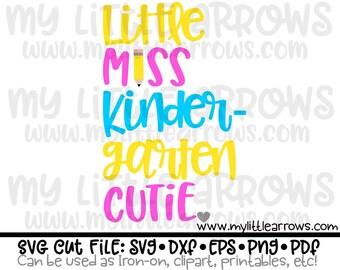 Little Miss Kindergarten cutie svg | kindergarten svg | kindergarten dxf | kindergarten iron on | first day of school svg | back to school
