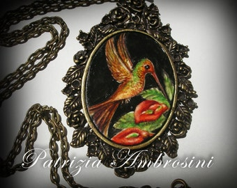 Hummingbird..original painting necklace.... Handpainted Vintage Style Frame ..victorian..  vintage style bird