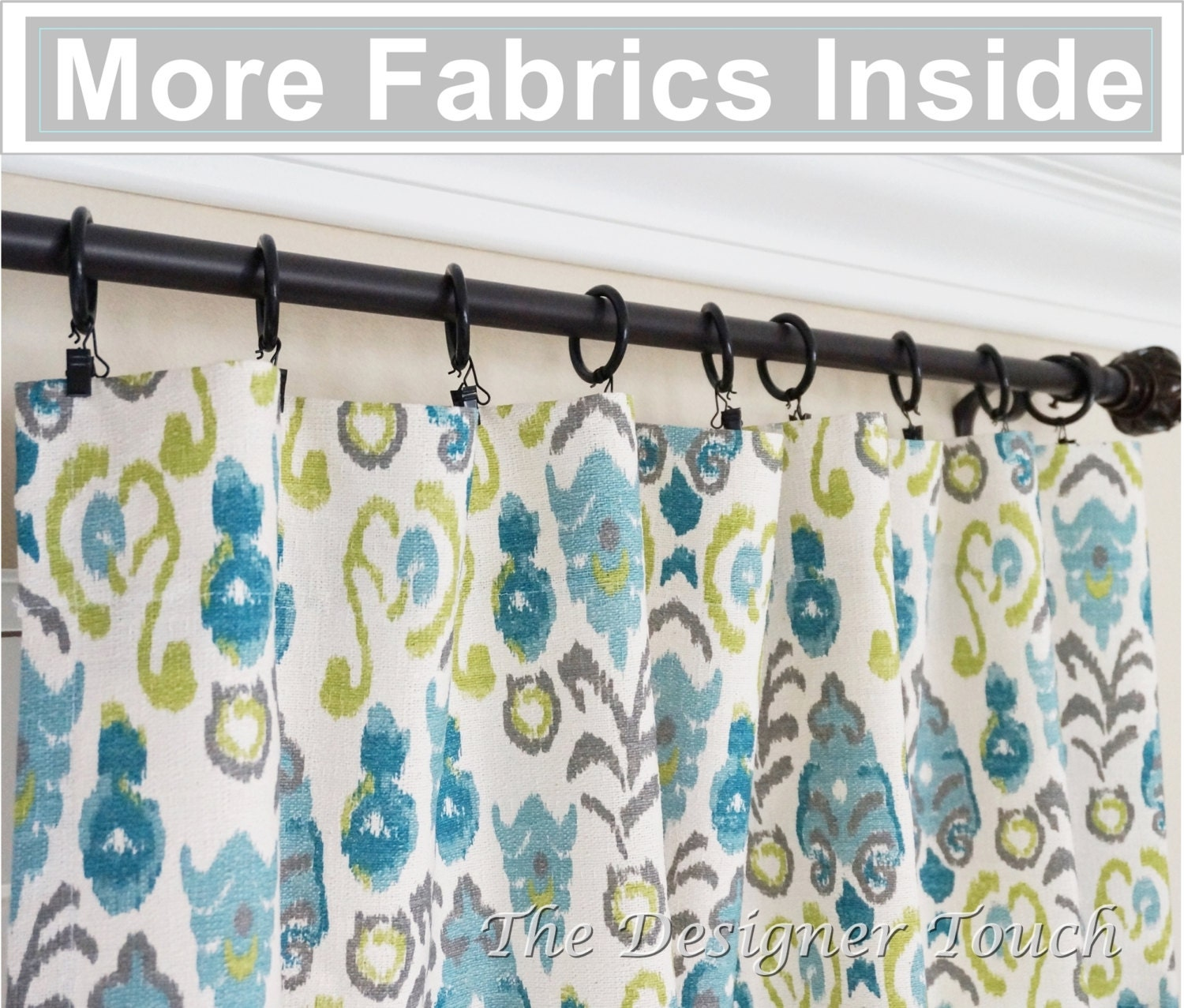 pair peacock curtain panels kiwi green navy blue curtains ikat. Black Bedroom Furniture Sets. Home Design Ideas