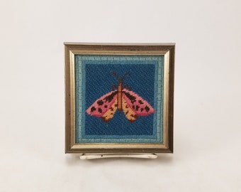"Framed Elsa Williams Needlecraft Creations Butterfly Needlework 4"" x 4"" Art"