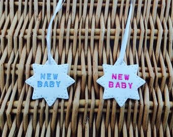 """Handmade Clay Star inscribed """"new baby"""" with white ribbon (1)"""