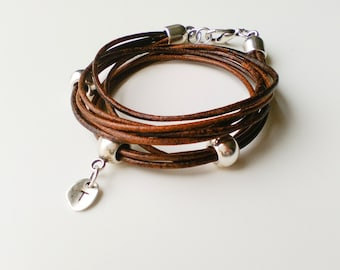 Brown leather wrap bracelet for woman with initial letter charm, multi strand monogram bracelet, customized, personalized jewelry for her