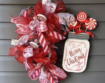 Christmas Wreath for Front Door, Xmas Wreath, Grapevine Wreath, Ribbon Wreath, Red White Wreath, Candy Cane Wreath, Modern Wreath