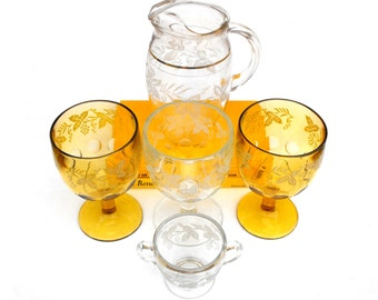 1940s Bartlett Collins Golden Grape Glassware Vintage Mid Century Gold Grapevine Thumbprint Chalice Goblets, Pitcher, Sugar Bowl Barware Set