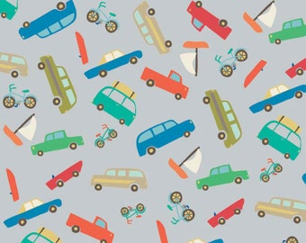 Scenic Route Multi-Colored Cars on Gray by Riley Blake - C3662