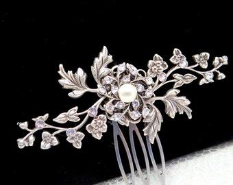 Bridal hair comb, Wedding hair comb, Hair pin, Wedding hair accessory, Vintage style hair comb, Flower and leaf comb, Wedding headpiece