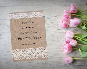 Personalised Wedding Thank You Cards with Matching Envelopes Pack Of 10 TY111