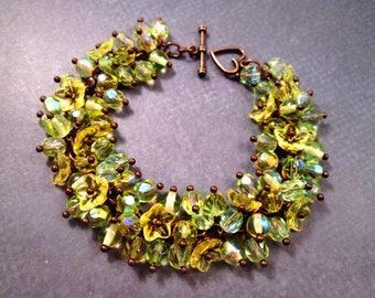Flower Cha Cha Bracelet, Lemongrass Bouquet, Yellow Green and Copper Beaded Charm Bracelet, FREE Shipping U.S.