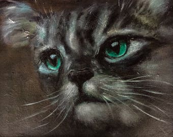 Portrait painting of Cat-kat-Acrylic paint-art work nature-Portrait green eye cat-realistic art-dim. 33 x 27 cm