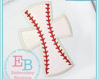 Personalized Baseball Softball Cross Monogram Applique Shirt or Bodysuit Girl Boy