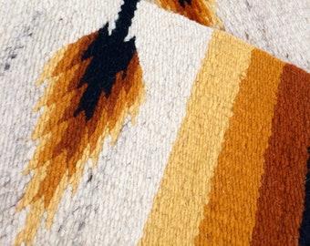 Southwestern Rug, Vintage Wheat Print Woven Rug - Bordered - Orange Yellow, Sunset Rug - Natural Fibers