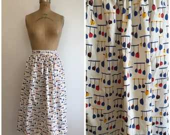 Vintage 1950s Novelty Print Skirt Kitchen Pots and Pans Print Fabric 50s