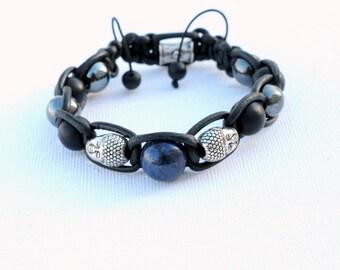 leather lapis lazuli onyx Buddha bracelet hematite-high quality