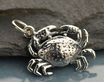 Sterling Silver Crab Charm.