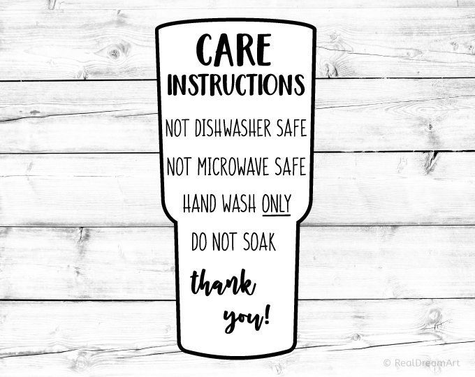 Tumbler Care Instructions Card Svg Care Card Svg Digital Care
