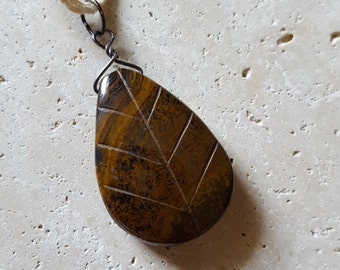 Natural Tiger Iron Leaf Pendant, Genuine Hand Carved Stone Necklace, Healing Crystals, Unisex, Brown Gold Bronze, Boho, Unique, Earthy