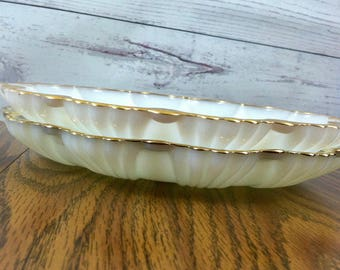 Vintage Milk Glass Serving Plates Set of 2 - Divided Relish Tray and Deviled Egg Tray Gold Trimmed Gorgeous
