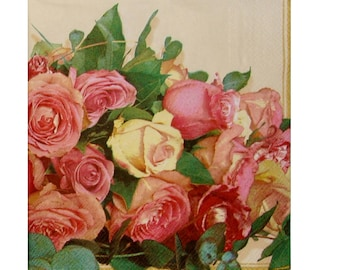 Set of 3 PLA147 Bouquet of pink and cream roses paper napkins