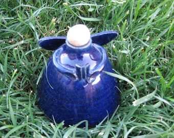 Stoneware Oil Lamp, Kerosene Lamp, Pottery Lamp, Angel Lamp, Hark the Harold Angel Sings, Cobalt Blue Angel, Stoneware Angel Oil Lamp.