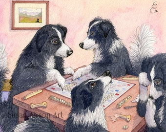 Border Collie dog 5x7 8x10 11x14 art print sheepdog playing Scrabble board game words tiles letters from Susan Alison watercolour painting