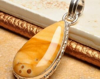 Natural Polka Dot Agate silver plated pendant  ( #J1085)
