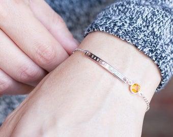 Birthstone Personalized Bracelet Rose Gold Bracelet Medical Id Bracelet sentimental gift Mother gift Mom personalized gift