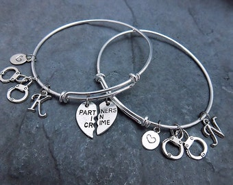 Set of 2 - Partners in Crime Charm Bracelet - Expandable Bangle - Friendship Bracelet - Best Friend Gift - Handcuff Bracelet - Jewelry