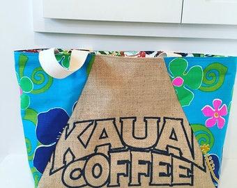 Kauai Coffee Sack Tote/ Beach Bag/ Market Bag/ Resort Wear/ Vacation