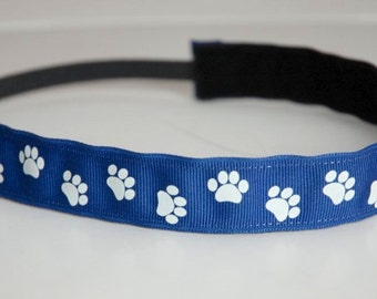 Non-Slip Headband - Blue and White Paw Print Ribbon - THIN size - Kentucky Headband, blue paw print headband, blue and white school headband