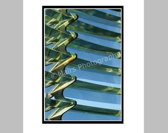 Blue Green Glass Detail Oregon Lighthouse Fresnel Lens Light Prisms Newport Fine Art Photography signed matted 5x7 Original Photograph