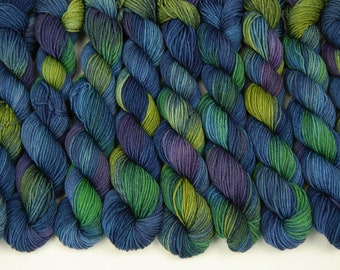 Sock Yarn Mini Skeins, Hand Dyed Yarn, Sock Weight 4 Ply Superwash Merino Wool - Ink Multi - Indie Dyed Blue Green Purple
