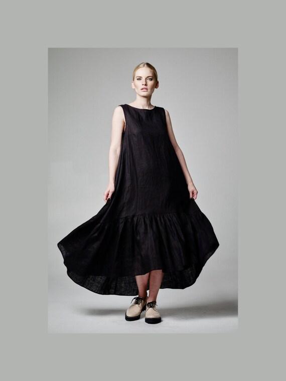 Plus Größe Maxi-Kleid Leinen Maxi-Kleid schwarzes Leinen