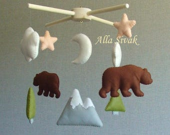 Bear  Mobile, Bear and mountain Baby Crib Mobile, Woodland Mobile, Mountain mobile, Bear Mountain Baby Mobile, Woodland nursery mobile