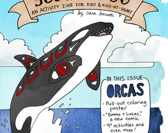 Printable Scoutaroo Zine #1 Activity Book for Kids Orca Theme Killer Whale Children's Book Coloring Mazes Educational Hand Drawn Lettered