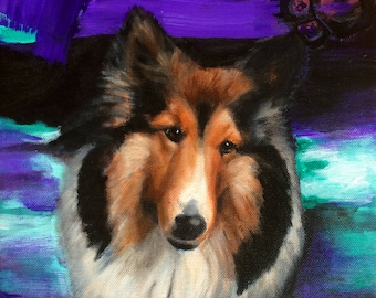 Collie Painting Contemporary Art, Dog Canine Art 11x14, Original Canvas Wall Art, Modern, Whimsical Art Work - Handpainted, No Print