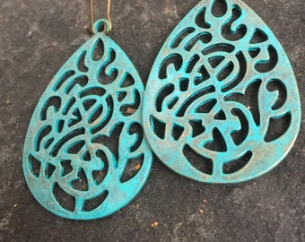 Turquoise Filigree Flower Teardrop Earrings  Bohemian Jewelry   Shabby Chic Boho Earrings  Metal Lace Filigree Teardrop Earrings