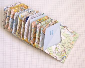 Upcycled US Map Mini Envelopes Set of 12