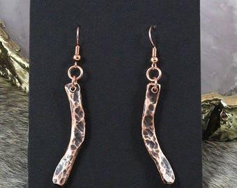 Hammered Copper Earrings - Handmade